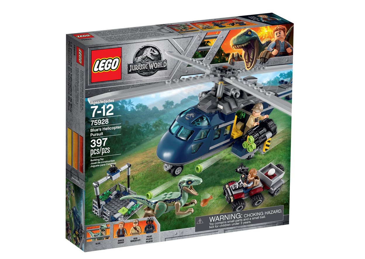LEgo jurassic world, photo du set la poursuite en helicoptere